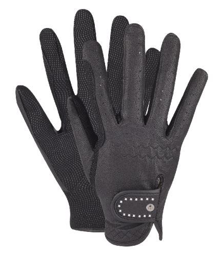 Jezdecké rukavice s kamínky černé