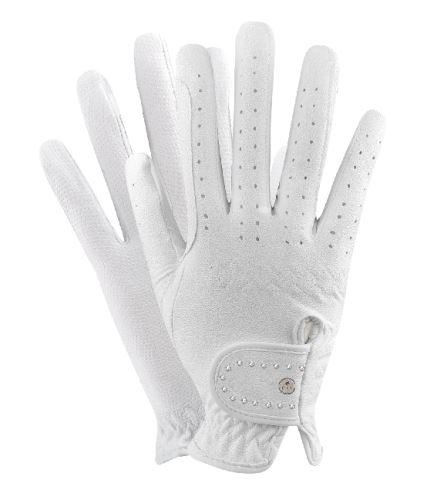 Jezdecké rukavice s kamínky bílé